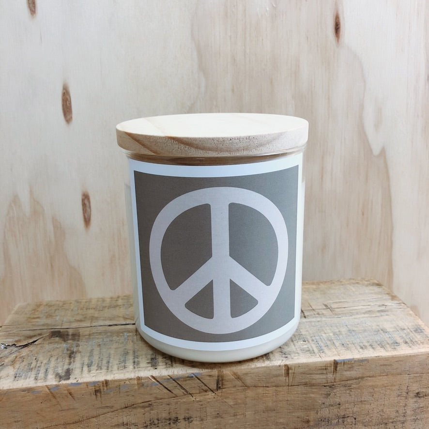 COMMONFOLK COLLECTIVE PEACE SIGN CANDLE: SAGE/ PALM DESERT