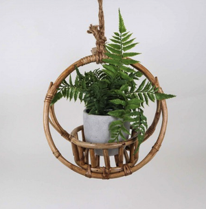 URBAN ROUND CANE HANGING POT HOLDER: SMALL