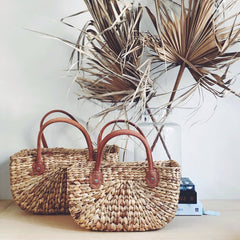 ROBERT GORDON HARVEST BASKET W/ TAN LEATHER HANDLES: SML