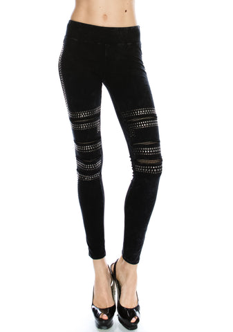 vocal leggings black mesh studs