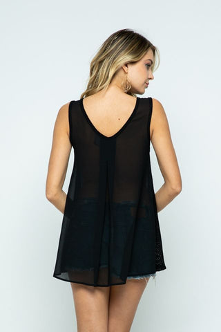 Mesh Jewel Neck Tunic or Swimsuit Cover