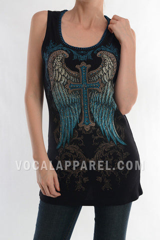 Vocal Womens Cross Stich Ribbed Black Tank Top