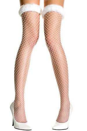 White Holiday Thigh High Fish Net