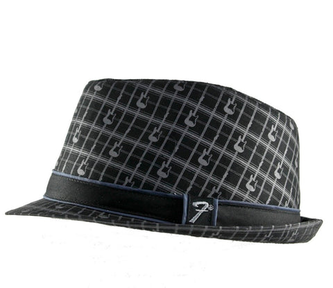 Black Fender Plaid Fedora Guitar Music Hat