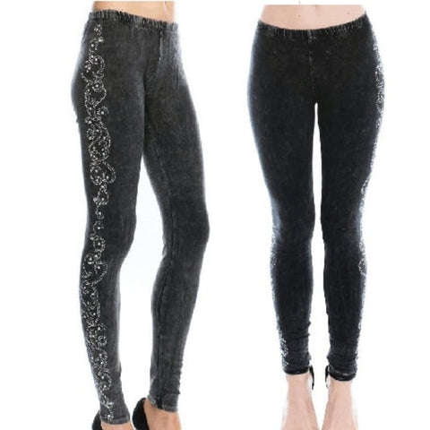 Charcoal Rhinestone Mineral Wash Leggings
