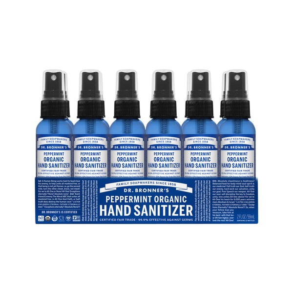 Dr. Bronner's Organic Hand Sanitizer Peppermint 59ml x 12 Pack