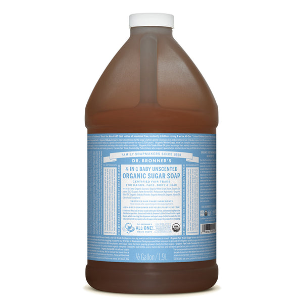 Dr. Bronner's Organic Pump Soap Refill (Sugar 4-in-1) Baby Unscented 1.9L