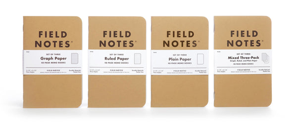 FIELD NOTES® Original - Natural Kraft Colour - Mixed 3 Pack (squared, ruled, plain) - Set of 3 Memo Books