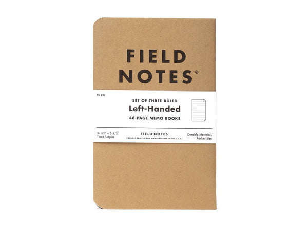 FIELD NOTES® Left Handed - Natural Kraft Colour - Ruled - Set of 3 Memo Books