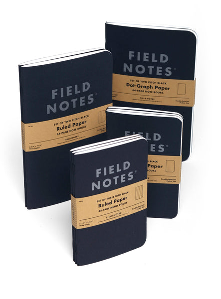 "FIELD NOTES® ""Pitch Black"" Note Books - Ruled - Set of 2 Large Note Books"