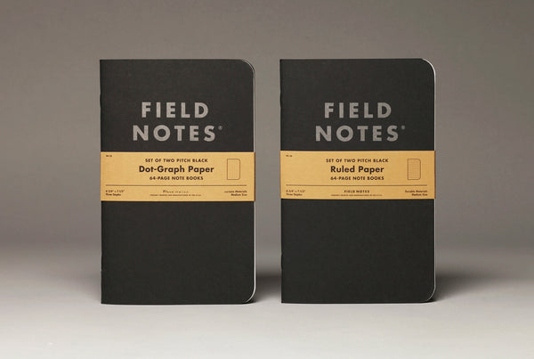 "FIELD NOTES® ""Pitch Black"" Note Books - Dot Graph - Set of 2 Large Note Books"