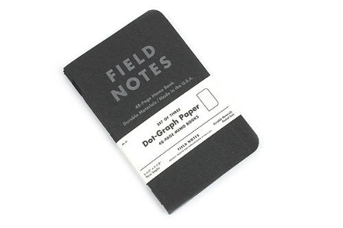 "FIELD NOTES® ""Pitch Black"" - Dot Grid - Set of 3 Memo Books"