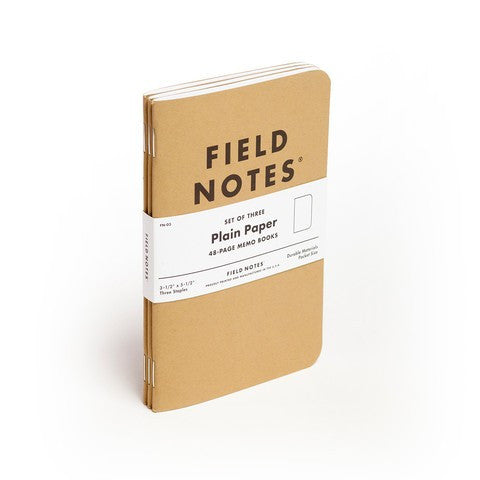 FIELD NOTES® Original - Natural Kraft Colour - Plain - Set of 3 Memo Books