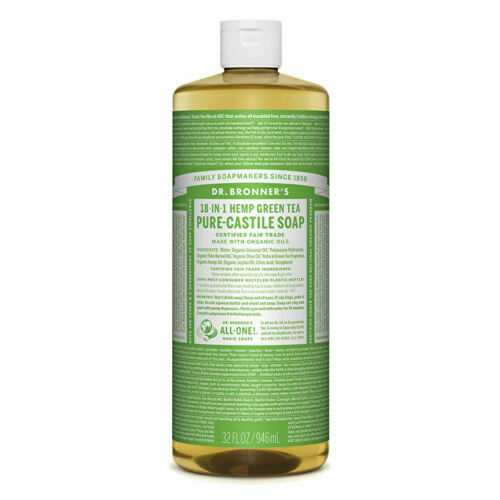 Dr. Bronner's Pure-Castile Soap Liquid (Hemp 18-in-1) Green Tea 946ml