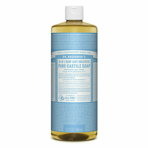 Dr. Bronner's Pure-Castile Soap Liquid (Hemp 18-in-1) Baby Unscented 946ml