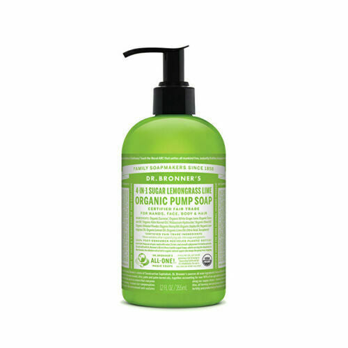Dr. Bronner's Organic Pump Soap (Sugar 4-in-1) Lemongrass Lime 355ml