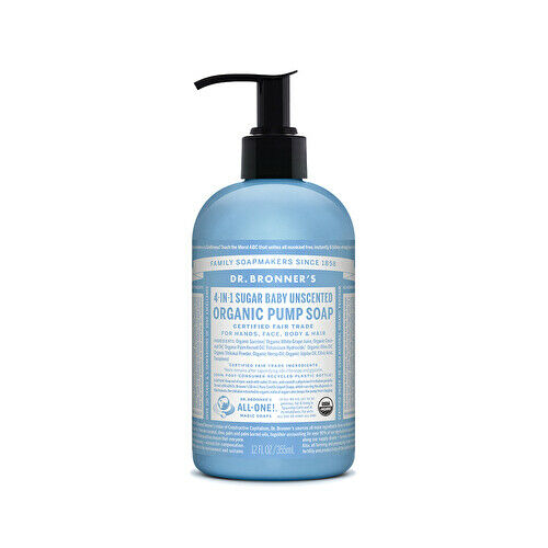 Dr. Bronner's Organic Pump Soap (Sugar 4-in-1) Baby Unscented 355ml