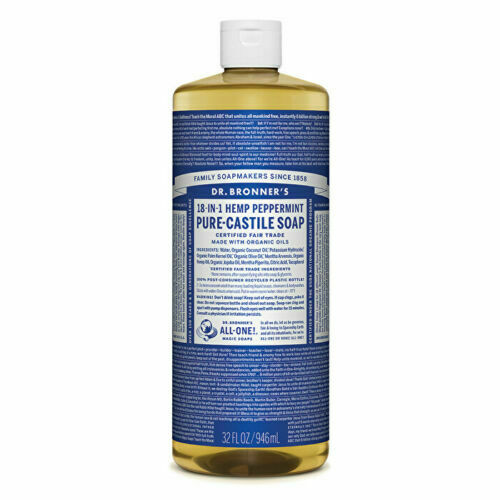 Dr. Bronner's Pure-Castile Soap Liquid (Hemp 18-in-1) Peppermint 946ml