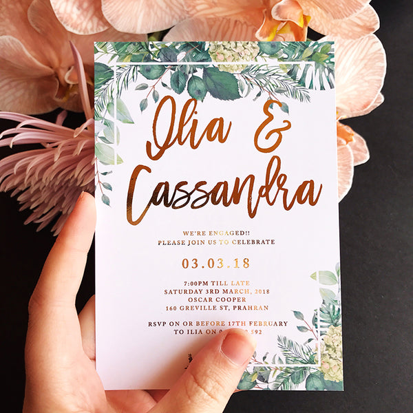 Semi Custom Foliage Engagement Foil Invitation