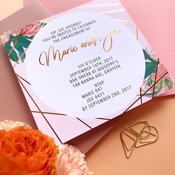 Semi Custom Modern Floral Engagement Foil Invitation