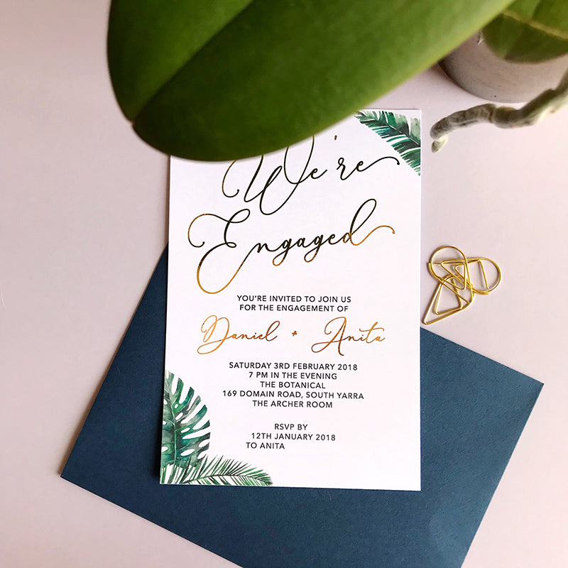 Semi Custom Lux Tropical Engagement Foil Invitation