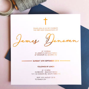 Semi Custom Lux Baptism Foil Invitation