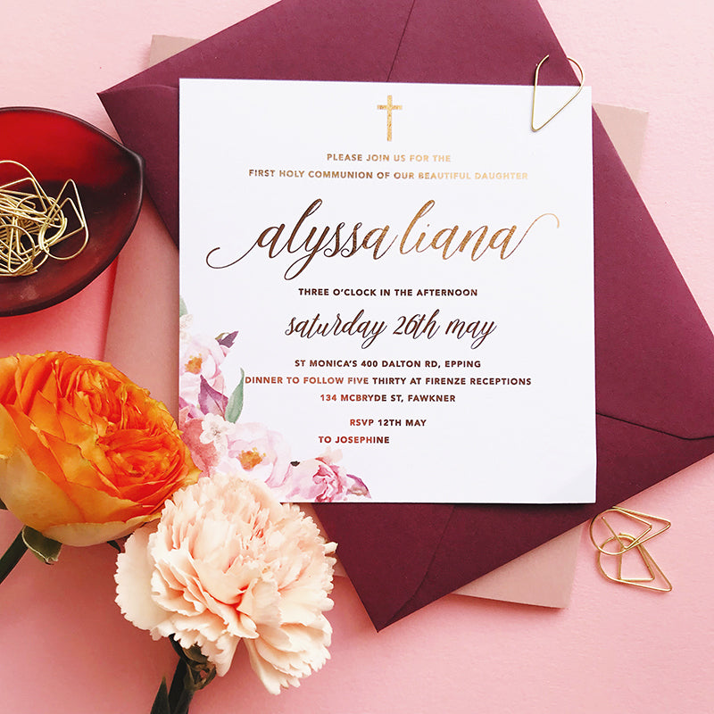 Semi Custom Double Sided Floral Foil Invitation