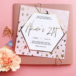 Semi Custom Hexagon Foil Invitation