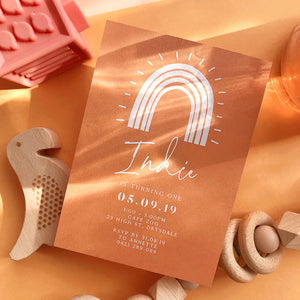 Semi Custom Rainbow Terracotta Invitation {qty 20+}