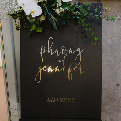 Black Foil Welcome Sign - 60x90cm {customisable}