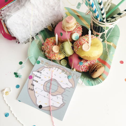 Write-on Donut Foil Invitation 10pk