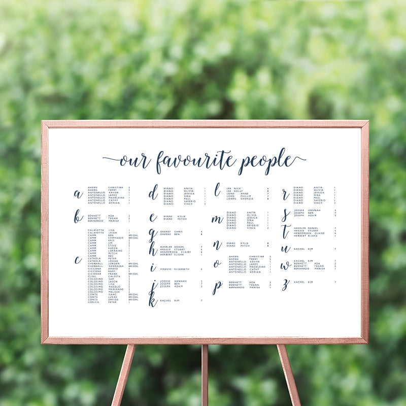 Our Favourite People Seating Chart 60x90cm - ALPHABETICAL {customisable}