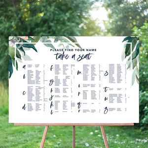 Foliage Seating Chart 60x90cm - ALPHABETICAL {customisable}