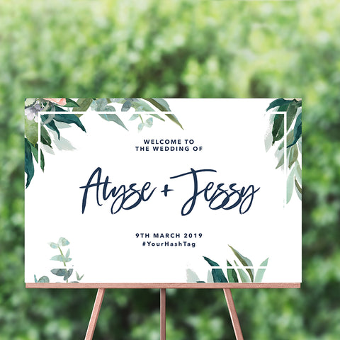Foliage Welcome Sign 60x90cm {customisable}