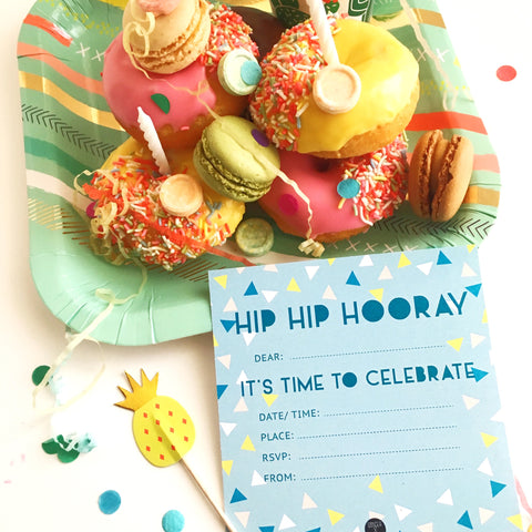 Write-on Hip Hip Hooray Party Invitation Pk10