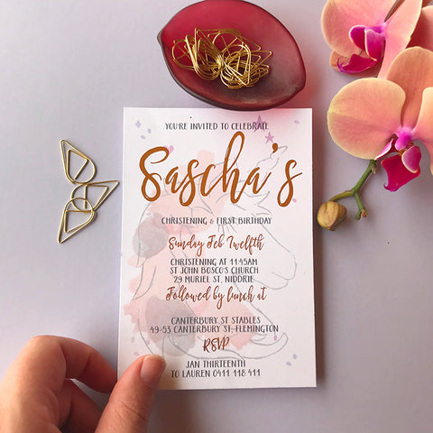 Semi Custom Unicorn Foil Invitation