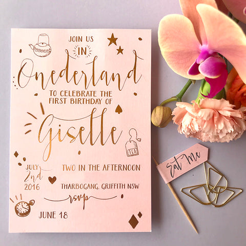Semi Custom Onderland Foil Invitation