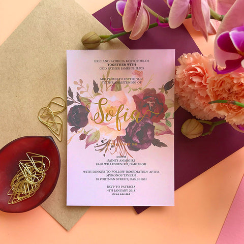 Semi Custom Floral Baptism Foil Invitation