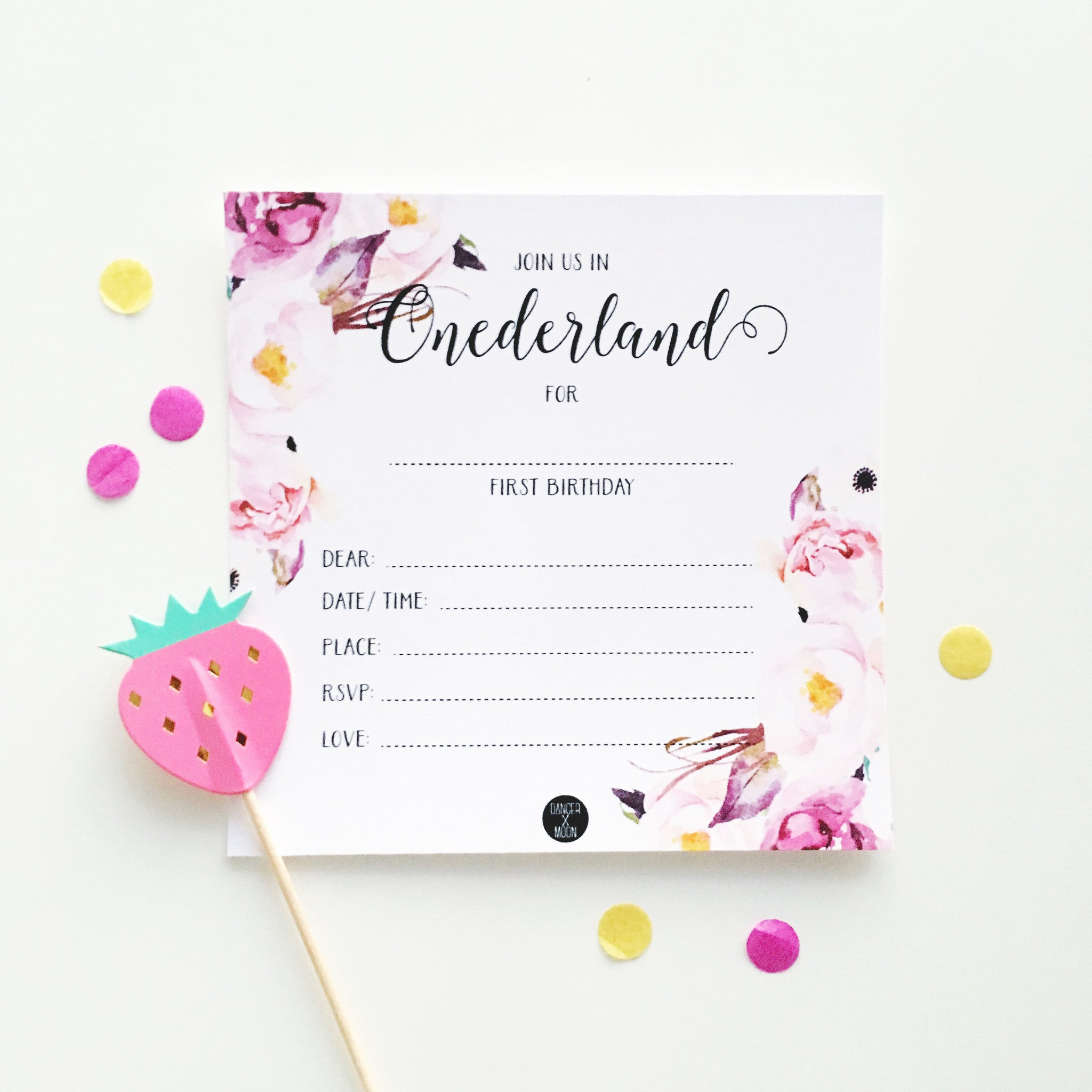 Write-on Onederland Floral Party Invitation Pk10