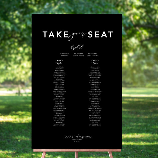 Our Forever Seating Chart 60x90cm -TABLE LISTING {customisable}
