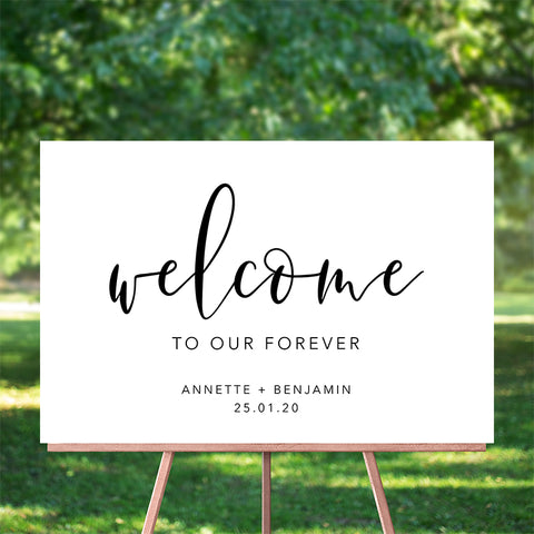 Our Forever Welcome Sign 60x90cm {customisable}