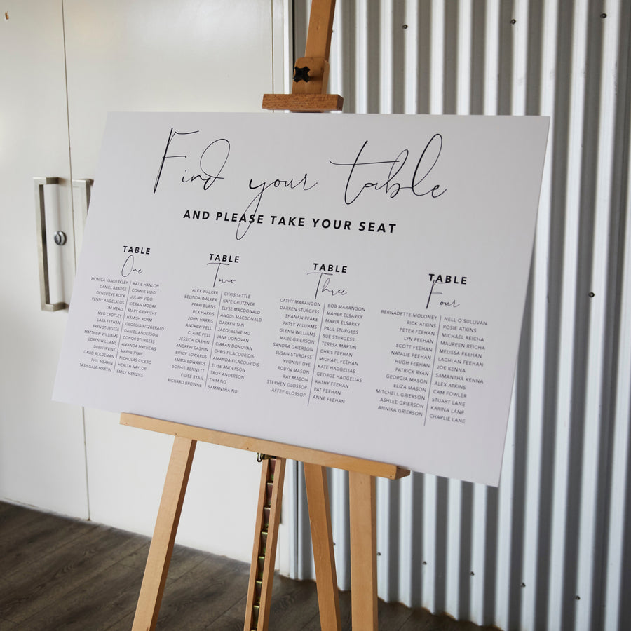 Modern Seating Chart 60x90cm - TABLE LISTING {customisable}
