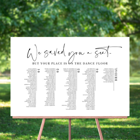 We Saved You A Seat 60x90cm Seating Chart - TABLE LISTING {customisable}