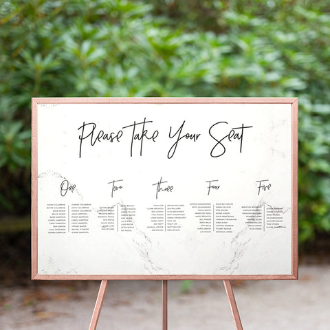 Marble Seating Chart 60x90cm - TABLE LISTING {customisable}