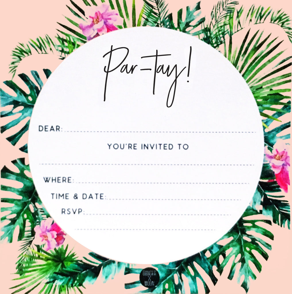 Tropical Palm Party Invitation Set – Danger & Moon