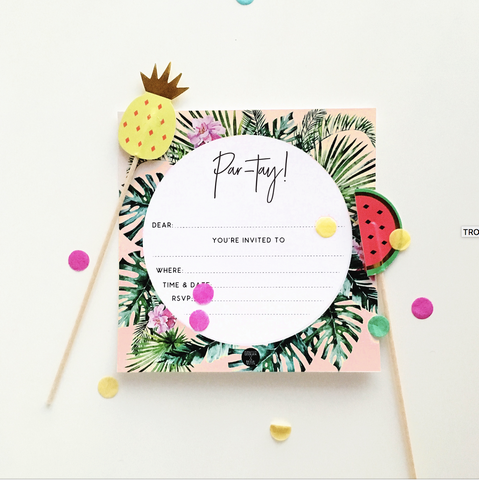 Write-on Tropical Palm Party Invitation Pk10