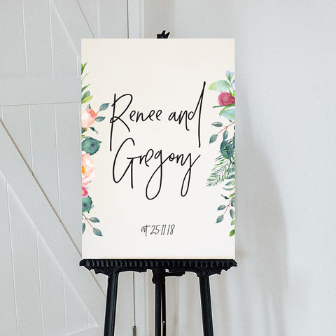 Floral Edge Welcome Sign {customisable}