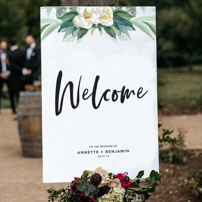 Floral Top Welcome Sign {customisable}
