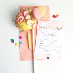 Write-on You're Invited Pink + Gold Foil Invitation 10pk