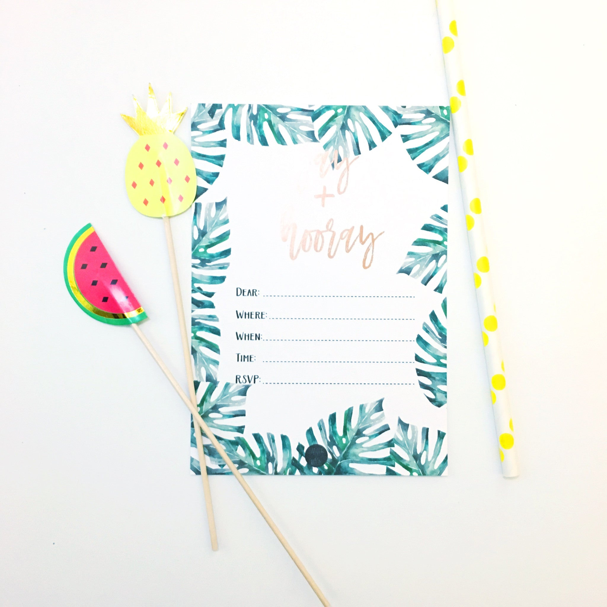 Tropical Yay + Hooray Invitation Set with Foil